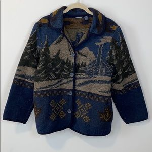 Sonoma Blanket wool blend coat with mountains